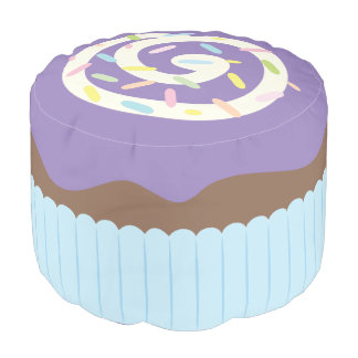 Cute Sprinkled Purple Cupcake Pouf