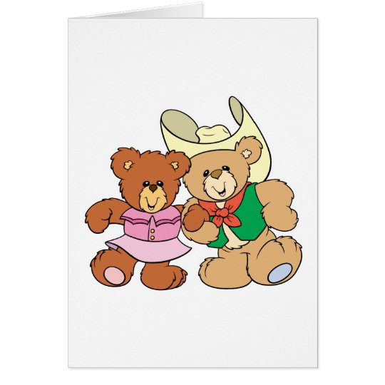 cute square dancing teddy bears design card