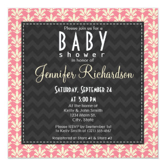 Cute Square Pink Damask Pattern Baby Shower Card
