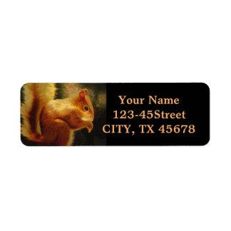 Cute Squirrel Embroidery Return Address Label