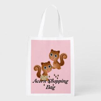 Cute Squirrel Girl & Boy Reusable Shopping Bag Grocery Bag