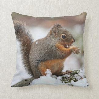 Cute Squirrel in the Snow Photo Cushion