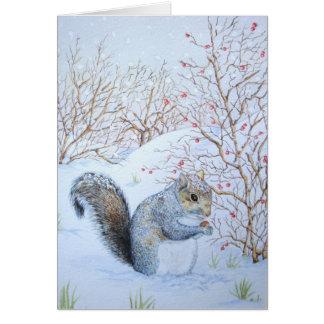 Cute squirrel snow scene winter wildlife art greeting card