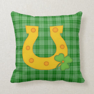 Cute St Patrick s Day Plaid with Horse Shoe Throw Pillows