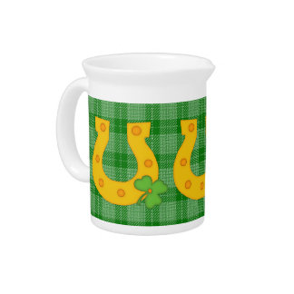Cute St Patrick s Day Plaid with Horse Shoe Pitcher