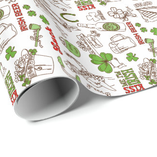 Cute St Patrick Symbols Illustration Doodle Style Wrapping Paper