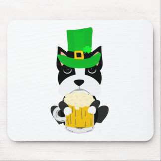 Cute St. Patrick's Day Boston Terrier Dog Mouse Pad