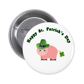 Cute St Patricks Day Button  Gift Baby Pig