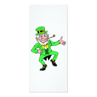 Cute St. Patrick's Day Dancing Leprechaun 10 Cm X 24 Cm Invitation Card