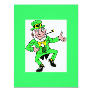Cute St. Patrick's Day Dancing Leprechaun 11 Cm X 14 Cm Invitation Card