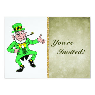 Cute St. Patrick's Day Dancing Leprechaun 13 Cm X 18 Cm Invitation Card