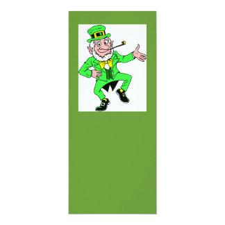 Cute St. Patrick's Day Dancing Leprechaun 4x9.25 Paper Invitation Card