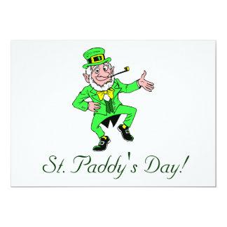 Cute St. Patrick's Day Dancing Leprechaun 5x7 Paper Invitation Card