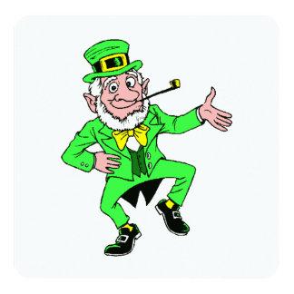 Cute St. Patrick's Day Dancing Leprechaun 5.25x5.25 Square Paper Invitation Card