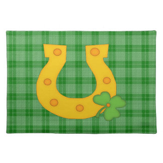 Cute St. Patrick's Day Plaid with Horse Shoe Place Mats