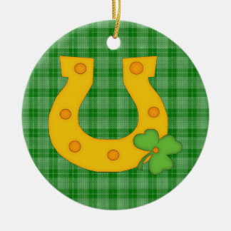 Cute St. Patrick's Day Plaid with Horse Shoe Christmas Ornaments