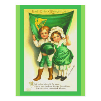 Cute St. Patrick's Day Postcard Vintage Kids