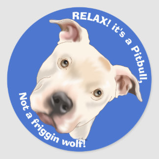 Cute Staffordshire Terrier Pitbull Puppy Classic Round Sticker