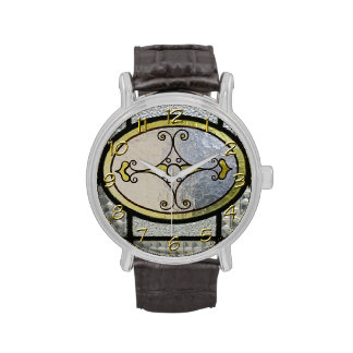 Cute Stained Glass & Golden Clock numbers Watch