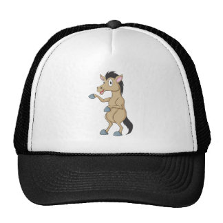 Cute Standing Horse Poingting Hand Up Showing Trucker Hat