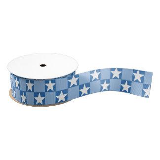 Cute star checkerboard pattern grosgrain ribbon