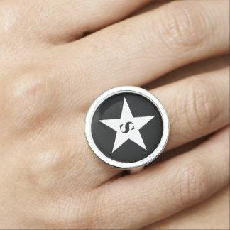 Cute star monogram ring