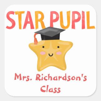 Cute Star Pupil Classroom Square Sticker