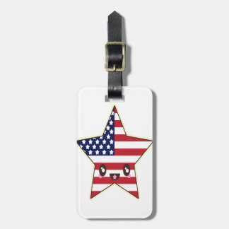Cute Star Shaped U.S.A. Flag - American Star Luggage Tag