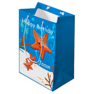 Cute Starfish Ocean Aquatic Birthday Med Gift Bag