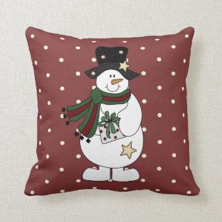 Cute Starry Snowman Throw Pillow