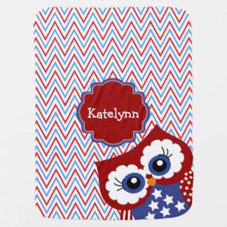 Cute Stars & Stripes Patriotic Owl Baby Blanket