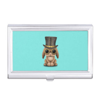 Cute Steampunk Baby Bunny Rabbit Business Card Holder
