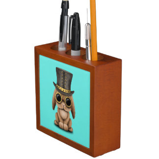 Cute Steampunk Baby Bunny Rabbit Desk Organiser