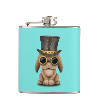 Cute Steampunk Baby Bunny Rabbit Hip Flask