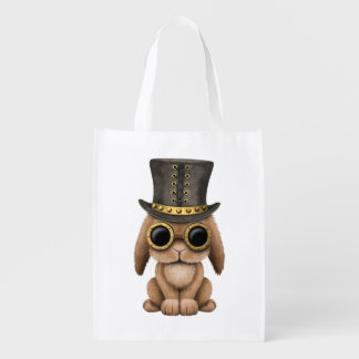 Cute Steampunk Baby Bunny Rabbit Reusable Grocery Bag