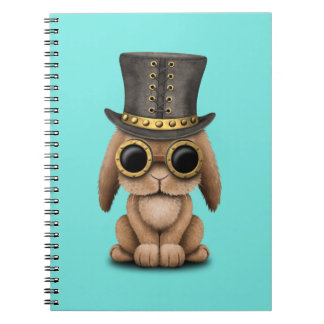 Cute Steampunk Baby Bunny Rabbit Spiral Notebook