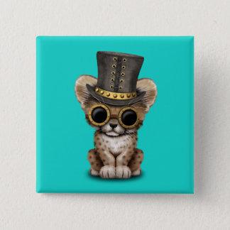 Cute Steampunk Baby Cheetah Cub 15 Cm Square Badge