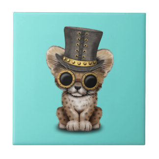 Cute Steampunk Baby Cheetah Cub Ceramic Tile