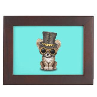 Cute Steampunk Baby Cheetah Cub Keepsake Box