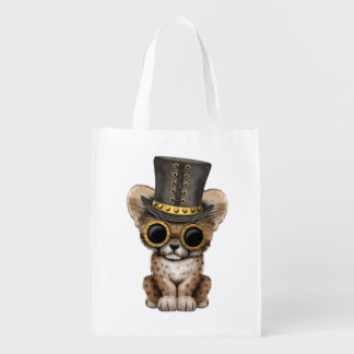 Cute Steampunk Baby Cheetah Cub Reusable Grocery Bag