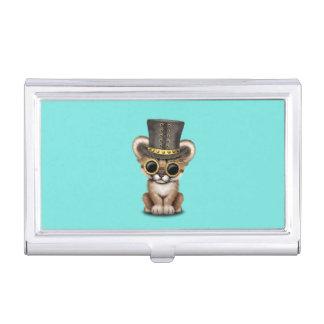 Cute Steampunk Baby Cougar Cub Business Card Holder