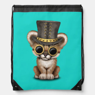 Cute Steampunk Baby Cougar Cub Drawstring Bag