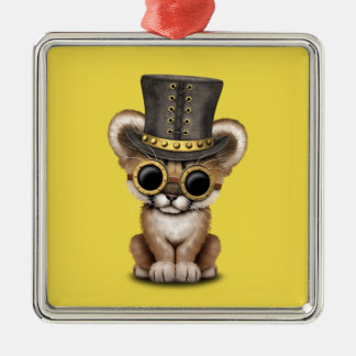 Cute Steampunk Baby Cougar Cub Metal Ornament
