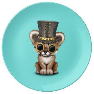 Cute Steampunk Baby Cougar Cub Plate