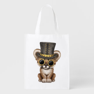 Cute Steampunk Baby Cougar Cub Reusable Grocery Bag