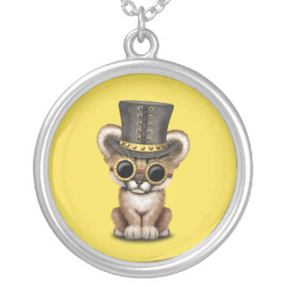 Cute Steampunk Baby Cougar Cub Silver Plated Necklace