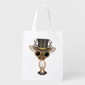 Cute Steampunk Baby Deer Reusable Grocery Bag