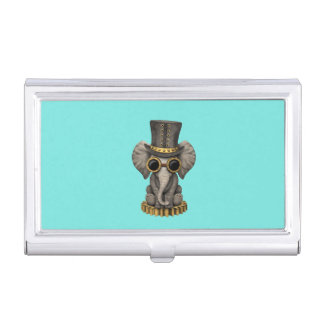 Cute Steampunk Baby Elephant Cub Business Card Holder