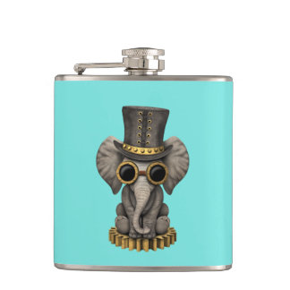 Cute Steampunk Baby Elephant Cub Hip Flask