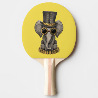 Cute Steampunk Baby Elephant Cub Ping Pong Paddle